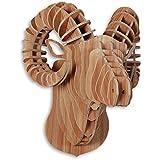 Ariete Rompecabezas 3D en madera color haya con sujeto cabeza de carnero