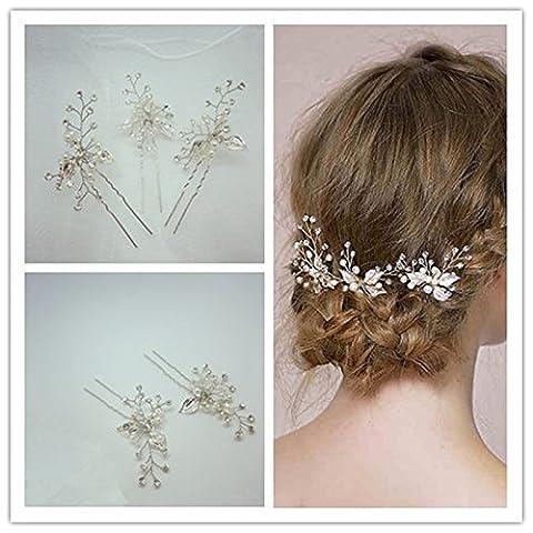 Gazechimp 3pcs Epingles à Cheveux Pique à Chignon Décoration Coiffure de Mariage