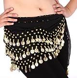 Zantec Kaufen Home Chiffon baumelnden Goldmünzen Bauchtanz Hip Rock Schal Wrap Belt (schwarz)