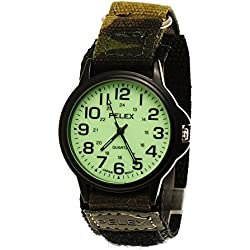 NY London Men's and Women's Nylon Watch Watch with Luminescent Dial Fabric Night Glow Camouflage Velcro Fastening Black/Green + Watch Box