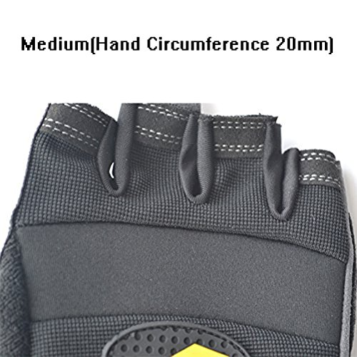 Men & Women Fitness Weight Lifting Glove with Long Wrist Wrap Support 2 Pairs Medium A