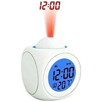 ANKKO LED Elektronische Magie Projektionsuhr Digitale Wecker, Uhrzeit und Temp Anzeige (Weiß)