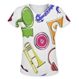 Snoogg Colorful Music Set Womens Casual V-Neck All Over Printed T Shirts Tees Amazon