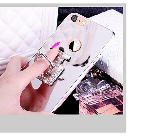 iPhone SE Hülle,iPhone 5S Hülle,SainCat Luxus Bling Glänzend Glitzer Spiegel Hülle [Weiche Metall Rahmen + Hart PC Rückdeckel] Mirror Effect Spiegel Schutzhülle [Glitzer Diamant Liebe Ring Fingerhalte Parfümflasche-Silber