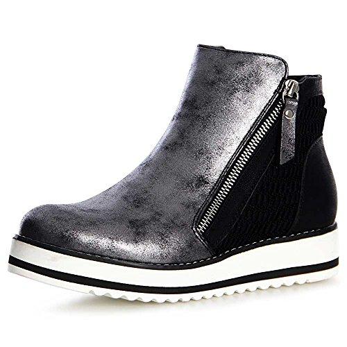 topschuhe24 1150 Damen Plateau Stiefeletten Derby Chelsea Boots Booties Schwarz