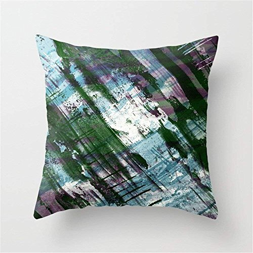 LULABE Escape! - Green, Purple and Cyan metallic Abstract Art Throw Pillow Cushion Cover for Couch Sofa Or Bed Set Cozy Home Decor Size:18 X 18 Inches/45cm x 45cm