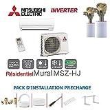 Wandtattoo Inverter Mitsubishi msz-hj25va für 25m2+ Kit Pret A pôser gezogen im leer 6m