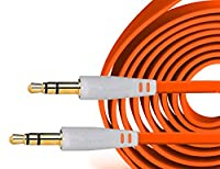 Act 3.5 MM Stereo Jack to Jack Flat Anti Tangle Aux Auxiliary Cable for All Phones iPads iPods Car Stereos and Any Device with 3.5 Aux Input (Orange 1m)