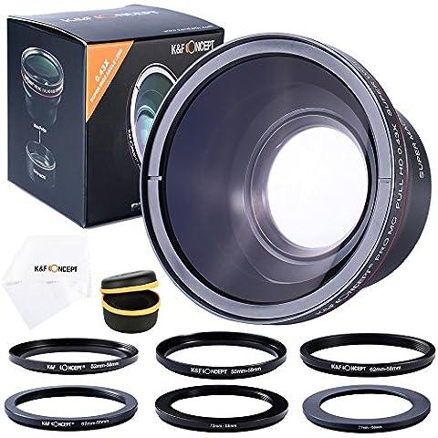 K&F Concept - 58MM Objetivo para Cámara Reflex, 0.43x Objetivo de Alta Definición Profesional HD Objetivo (w/ Macro Porción) para Canon Nikon Cámaras + 52-58MM,55-58MM,62-58MM,67-58MM,72-58MM,77-58MM Anillo de Filtro + Paño de Limpieza