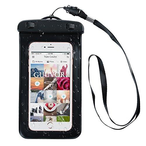 Funda Impermeable, Funda Totalmente sellada a Prueba de Agua, Nieve, Suciedad. Universal Bolsa estanca con Brazalete para iPhone X/8/8 Plus/7/7 Plus/Galaxy/Google Pixel/LG/HTC (Negro)