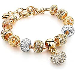 Jewels Galaxy Limited Edition Delightful Floral Design Splendid Platinum Plated Pandora Style Bracelet For Women/Girls