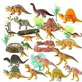 OOTSR (30 Pezzi) Giocattoli di Dinosauro, Include 20 Figure di Dinosauri realistici con Alberi, Tronco, Erba, Stagno, Nido di Uova per Favore del Partito / Regali Divertenti / educazione
