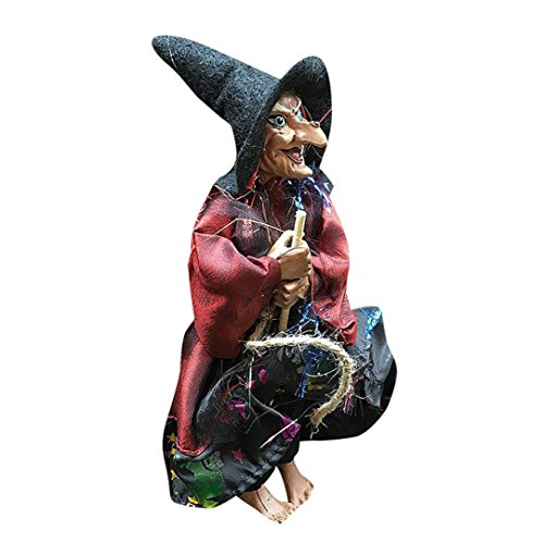rbis Bar Dekorative Stützen Flying Sweep Hexe Anhänger Hängende Puppen (Rot) (Einfache Halloween-puppe Make-up)