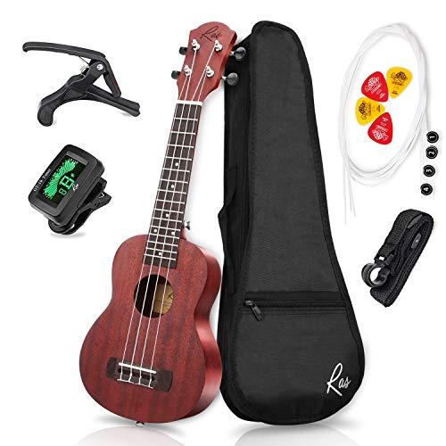 RAS Ukulele Sopran 21 Zoll Mahagoni Vier String Gitarre für Erwachsene und Kinder (Braun)