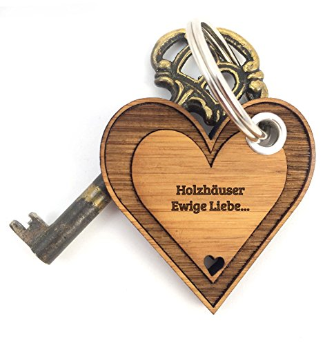 Preisvergleich Produktbild Mr. & Mrs. Panda Schlüsselanhänger Stadt Holzhäuser Herz - Herz, Liebe, Herzchen, verliebt Schlüsselanhänger Anhänger Glücksbringer Geschenke Schlüsselbund, Fan, Fanartikel, Souvenir, Andenken, Fanclub, Stadt, Mitbringsel