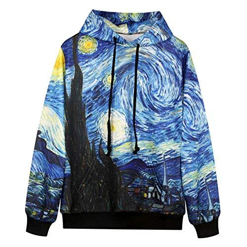 YUVUMVS Cooles Sweatshirt Männer/Frauen mit Kapuze 3D Druck Van Gogh Ölgemälde Hoody Hoodies Freizeit Paar Urlaub Pullover, L
