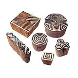 Royal Kraft Indisch Motif Spiral und Finger Hölzern Stempel für Drucken (Set von 6)