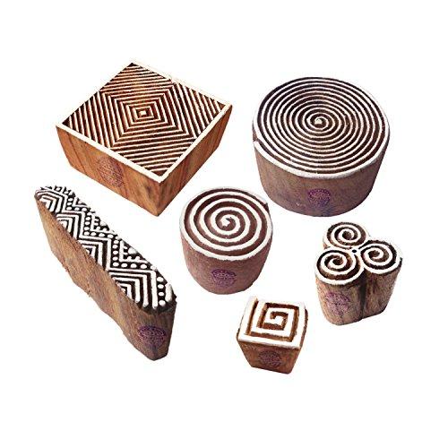 Royal Kraft Indisch Motif Spiral und Finger Hölzern Stempel für Drucken (Set von 6) - Holz Ton Block