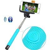 Palo para Selfie Inalámbrico Portátil con Control Bluetooth Extensible Con Soporte Ajustable para Sujetar Cámaras y Móviles Monopié Multifunción Autodyne para Cámara y todos los Móviles - Azul