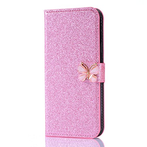 "Pour iPhone 6/6S 4.7"",Coque Cas iPhone 6/6S 4.7"" Bling Bling Glitter Case,SKYXD Paillette Étui Ultra Mince Bumper Cuir Coque Brillant Cristal Protection optimale & cuir premium et 3D Papillon Magnétiq Rose"