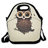 Lunch Tote Bag, Cute Lunch Bag, Hot Big Lunch Bags For Women, Owl Coffee Creative Design