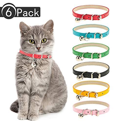 Yorgewd 6er-Pack Leder-Katzenhalsbänder mit Abnehmbarer Glöckchen, poliert, langlebige Metallschnalle, weich und verstellbar für Katzen, Welpen, kleine und mittelgroße Hunde