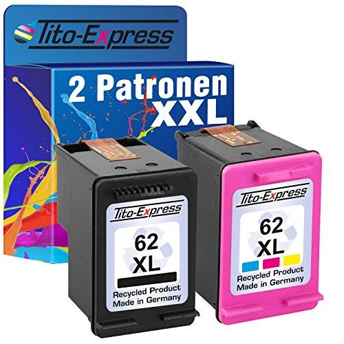 Tito-Express PlatinumSerie Sparset 2x Tintenpatrone XXL remanufactured für HP 62 XL - 70% mehr Inhalt! HP Envy e-All-in-One 5640 5642 5643 5644