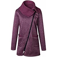 IMJONO Mujer Abrigo de Algodón Sudadera con Cremallera Larga Desgastar Chaqueta - Señoras Desgastar con Bolsillo Parka Invierno Camisa Coat