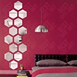 #4: BEST DECOR Hexagon Silver(pack of 14)Acrylic Sticker, 3D Acrylic Sticker, 3D Mirror, 3D Acrylic Wall sticker, 3D Acrylic stickers for wall, 3D Acrylic Mirror stickers for living room, bedroom, kids room, 3D Acrylic mural for home & offices décor 4