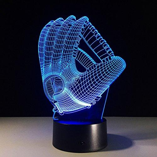 ZNND USB Lade 3D Illusionseffekt Baseball Handschuh Nachtlicht 7 Farbwechsel Kinder Baby Zimmer Dekoration (Baseball-handschuh-rot-blau)