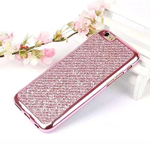 iPhone 7 Hülle,Bling Bling Case für iPhone 7,Ekakashop Kreative Rose Glänzend Diamant Strass Glitzer Funkeln Sternen Star Soft Silikon Hybrid Back Case Flexible Gel Cover Defender Protective Schutz Rü Rose Glänzend