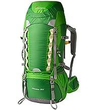 Mountaintop 60L Mochila de Senderismo Impermeable Multifunciona Backpack / trekking bolsa de mochilero / Escalada Mochila / Mochila de camping / mochila de viaje para el alpinismo con cubierta de la lluvia-651II 76 x 36 x 26 cm (verde-promoción)