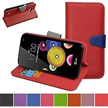 LG K4 / Optimus Zone 3 / LG Spree Funda,Mama Mouth PU Cuero Billetera Cartera Monedero Con Soporte Funda Caso Case para LG K4/Optimus Zone 3/LG Spree 2016 Smartphone,Rojo