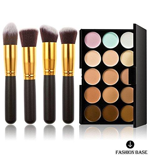 Fashion Base Contour crème pour le visage et le maquillage Anti-cernes Palette, 15 coloris différents avec pinceaux de maquillage, Pinceau fard à paupières, 4 pièces