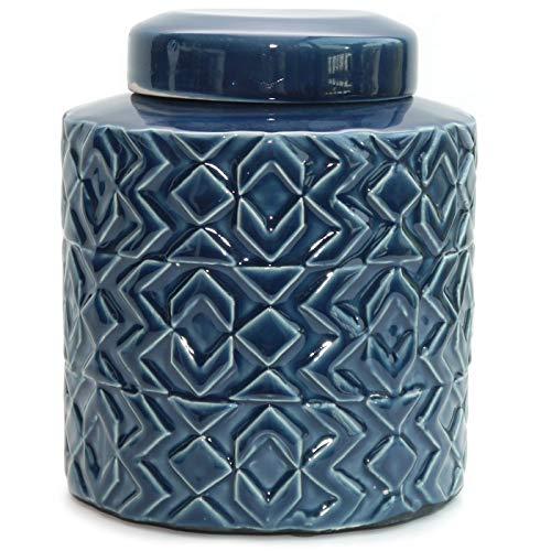 Werner Voss Deckelvase \'Nautical\' Maritime Keramikvase Dekovase Vase Keramik blau - im Retro-Design - skandinavisch Vintage Dekoration - 20 cm