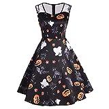 Berrose--Halloween Drucken Retro Mesh-Nähte Kleid Halloween-Frauen Mesh Patchwork gedruckt Vintage ärmelloses Party-Kleid-Halloween Party Damen Gedruckt-Halloween Kostüm