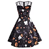 Yvelands Vestidos para Mujer Moda Halloween Imprimir Long Sleevel Daily Paty Dress ¡Caliente! (BlackXXL)