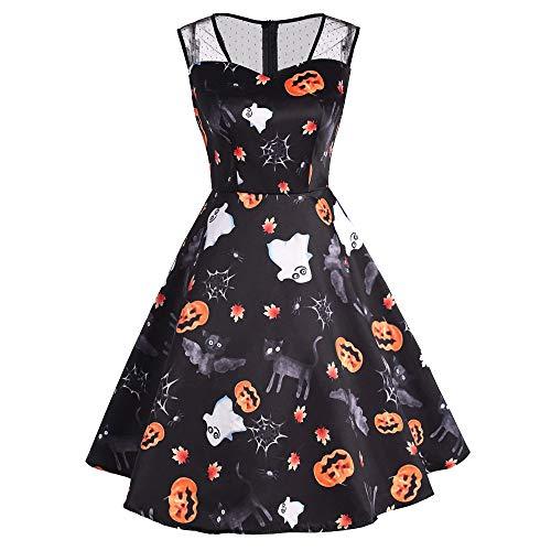 (Berrose--Halloween Drucken Retro Mesh-Nähte Kleid Halloween-Frauen Mesh Patchwork Gedruckt Vintage ärmelloses Party-Kleid-Halloween Party Damen Gedruckt-Halloween Kostüm)
