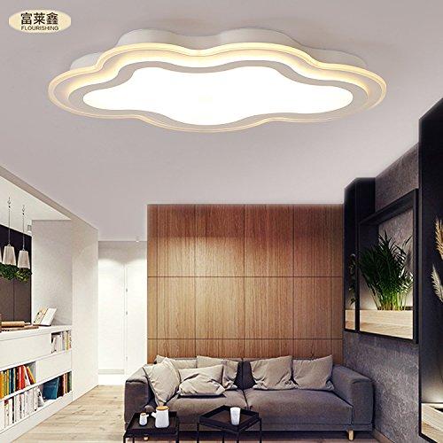 nubi ferro creativo soffitto del LED pranzo camera da letto soggiorno acrilico semplice ed elegante 32-36w interruttore di accensione a distanza , yellow , 36W 700*465mm