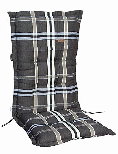 6 Stück MADISON Dessin Nils Sitzpolster für Klappsessel, Gartenstuhlauflage, 100% Polyester, 100 x 50 x 4 cm, in taupe