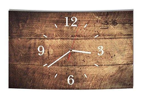 LAUTLOSE Designer Wanduhr Holz Optik braun bretter rustikal modern Dekoschild Abstrakt Bild 39 x 25cm