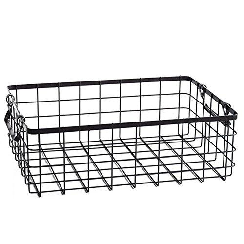 Draht-speicher-korb (Cvthfyky Haushalts-Draht-Speicher-Organisator-Behälter-Korb mit Griffen für Organisator für Küchenschränke, Pantry oder Badezimmer-Regale (Farbe : Schwarz, Size : L))