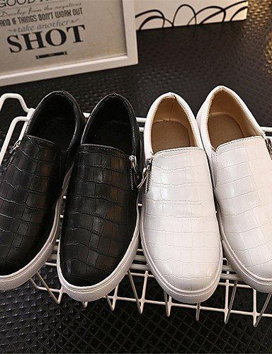 ZQ Scarpe Donna-Mocassini-Tempo libero / Casual / Scarpe comode-Creepers / Punta arrotondata-Plateau-PU (Poliuretano)-Nero / Bianco , white-us8.5 / eu39 / uk6.5 / cn40 , white-us8.5 / eu39 / uk6.5 / c white-us6.5-7 / eu37 / uk4.5-5 / cn37