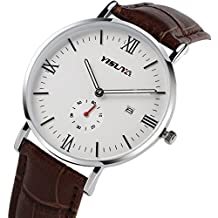 YISUYA números romanos cuero banda hombres de moda Casual reloj analógico de cuarzo relojes de pulsera