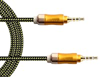AUX Cable Act 3.5mm Nylon Braided Premium Auxiliary Audio Cable- Lifetime Warranty Series - For Beats Headphones, Apple iPod iPhone iPad, Home / Car Stereos, Smartphones, MP3 Player and More - 1M (Green 24K Gold 1M Nylon)