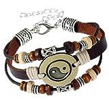 AIUIN Retro Armband Tai Chi geflochtenes Lederarmband für Herren Männer Einstellbares dekoratives Armband (Style 3)