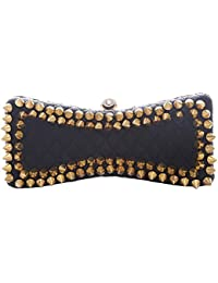 VA by Vanshika Ahuja Women's Clutch (Black and Gold, VAN-3013)