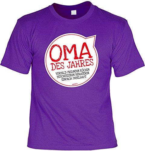 Oma/Sprüche/Spaß-Shirt/Fun-Shirt: Oma des Jahres Vorbild Freundin Köchin Beschützerin Beraterin einfach fabelhaft Lila