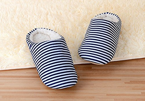 Lukis Herren Plüsch Streifen Pantoffel Hausschuhe Ziehen Geschlossen Blau
