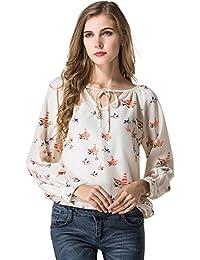 EOZY Femmes Chemises Casual Blouse T-shirt Mousseline de Soie Floral Beige